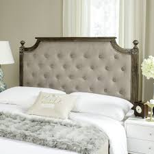 RUSTIC WOOD TAUPE TUFTED LINEN HEADBOARD Rustic Wood Taupe Tufted Linen Headboard  HEADBOARDS