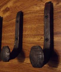 2 antique coat hooks old railroad spikes wrought iron style heavy duty set for