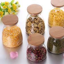 storage glass jars with bamboo lid