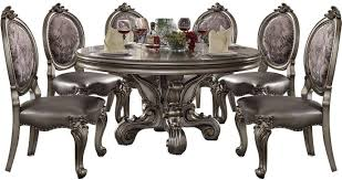 Silver Pu Antique Platinum Dining Table Set 7pc Acme Furniture 66840