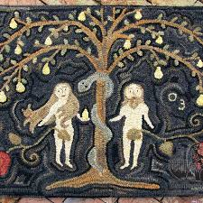 strawberry basket rug adam and eve with silver serpet rug designed and hooked by tish bachleda