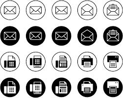 フリーイラスト 20種類のメールとfaxのアイコンのセットでアハ体験