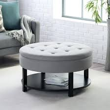 round coffee table ottoman home design and decorating ideas dakota chrome glass with 4 storage stools