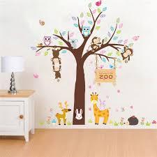 baby zoo animals nursery. Exellent Nursery Zoo Animals Tree Giraffe Deer Cute Poster Decorative Kids Baby Nursery Home  Decorations Mural Decor Decal Wall Stickersin Stickers From U0026 Garden  With A