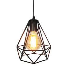 metal pendant lighting fixtures. Geometric Style Diamond Black Wrought Iron Metal Pendant Light Lighting Fixtures