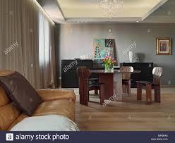 Interieur Aufnahmen Von Einem Modernen Wohnzimmer Im Vordergrund