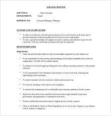 8 Assistant Manager Job Description Templates Free Sample
