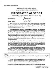 Utilize the information provided for each question to determine your answer. Integrated Algebra Regents Exam 2010 August Answers Pdf