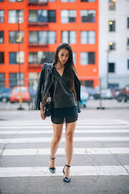 jenny from neonblush in zara leather jacket and skirt alexander shoes