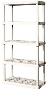 shelf unit with light platinum storage shelves rubbermaid shed