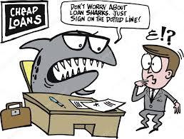 vector cartoon of loan shark sitting at desk in office stock vector