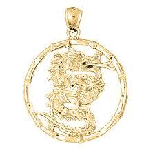 10k 14k or 18k gold chinese zodiacs dragon pendant