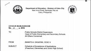 Deped Cebu City 2016 Schedule Of Acceptance Of Applications