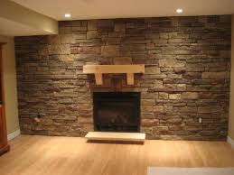 interior: Spacious Free Space Decorated With Awesome Stone Wall Interior  That Enhanced With Wooden Accents