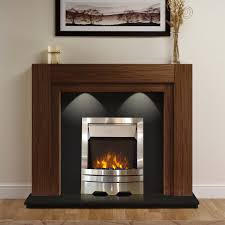 henley electric fireplace suite in american walnut with black granite eko fire thumbnail