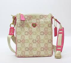 Coach Signature Heart Waverly Coated Canvas Swingpack Crossbody Bag 48990  Pink   Valentines Love Sign