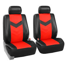 faux synthetic leather car seat covers front bucket covers red black 0