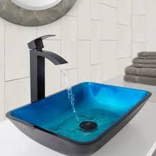 bathroom vessel sinks and faucets. vigo rectangular turquoise water glass vessel sink and duris bathroom faucet in matte black sinks faucets o
