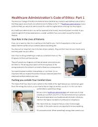 What Do Healthcare Administrators Do Healthcare Administrations Code Of Ethics Part 1