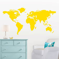 large world map wall decal with dots and stars to mark throughout for