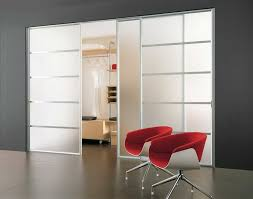 Closet & Storage. Modern Sliding Closet Doors For Bedrooms With Aluminium  And Modern Red Chairs