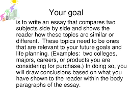writing comparison contrast  5 your goal is to write an essay