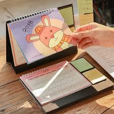 2018 cute cartoon animal image desk desktop calendar flip stand table office planner small calendar birthday