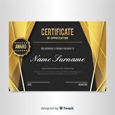Elegant Certificate Template With Golden Design Vector