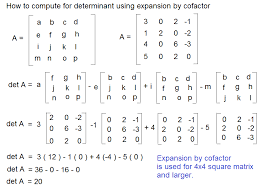 this link to see example of using determinant of 4 x 4 matrix to solve four simultaneous linear equations