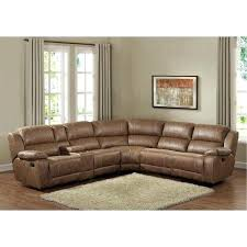 leather sectional sofa recliner badlands saddle brown 6 piece reclining sectional sofa