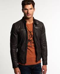 superdry real hero leather biker jacket thumbnail 1