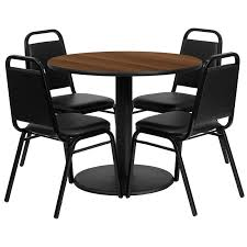 36 round walnut laminate table set with 4 black tzoidal back banquet chairs