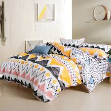 c yellow black and white aztec stripe print southwestern style unique 100 cotton twin full queen size bedding sets