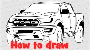 How to draw a pickup Ford Ranger Raptor 2018 - YouTube