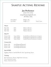 Talent Resume Template Awesome Acting Resume Format Inspirational Collection Actor Resume Format