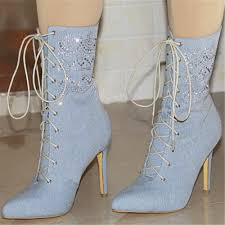 Light Blue Shoes Womens Us 67 59 35 Off New Popular Women Mid Calf Boots Fashion Pointed Toe Thin Heels Boots Beautiful Sky Blue Shoes Woman Us Size 4 10 5 In Mid Calf