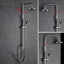 Auralum Duschsystem Dusch Set 8 Inch Kopfbrause Höhenverstellbar Aus Messing Regendusche Set Mit Handbaruse Für Bad Und Badwannen