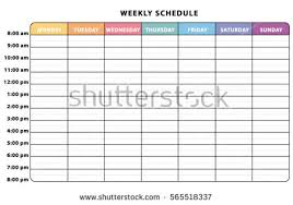 schedule weekly weekly schedule stock images royalty free images vectors