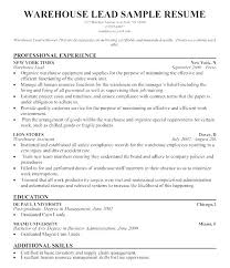 Warehouse Resume Examples Enchanting Warehouse Lead Hand Resume Sample Supervisor Of Qualifications On