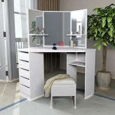 Corner Dressing Table Design Bedroom Furniture Wooden Makeup Dresser Mirrored Corner Dressing Table Save Space With 5 Drawers Buy Corner Dressing Table Wooden Makeup