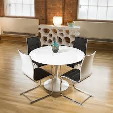 tulip style round dining table white gloss 4 black chairs
