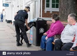 checking bin police sniffer dog checking a litter bin security stratford on avon