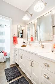 bathroom fans middot rustic pendant. Kid\u0027s Bathroom Complete With Ample Lighting And Crisp Clean Design Details Including Redland Sconces Bingham Fans Middot Rustic Pendant