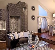 Charcoal Moroccan Patterned Accent Wall For Modern Living Room (Image 2 of  25)