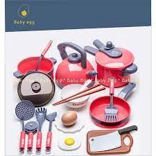 Bộ đồ chơi nấu ăn cho bé gái màu hồng giống thật bát đũa bếp thìa dao nồi  áp suất ấm nước cho bé 2 3 4 5 6 7 8 9 tuổi giá cạnh tranh