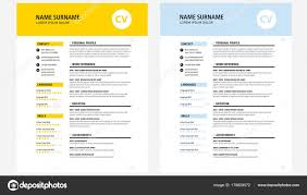 Cv Resume Design Template Yellow And Dark Blue Vector Stock