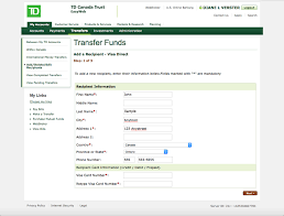 Canada Send Td Trust Money Visa Online Direct