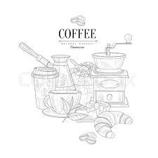 coffee breakfast still life hand drawn realistic detailed sketch in cly simple pencil style on white background vector