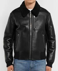men s ma 1 er black leather jacket with fur collar