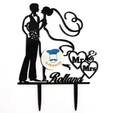 Acrylic Cake Topper Or Silhouette Wedding Couple